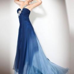 Taş Süslü Mavi Tek Omuz Elbise Modelleri