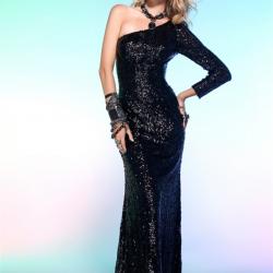 Tek Omuz 2015 Payetli Elbise Modelleri