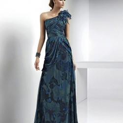 Uzun Tek Omuz Elbise Modelleri