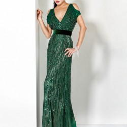 V Yaka Yeşil 2015 Payetli Elbise Modelleri