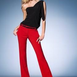 İspanyon Paça Pantolon Kırmızı Kombinler