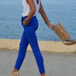 Şık Pantolon Yazlık Saks Mavisi Kombinleri