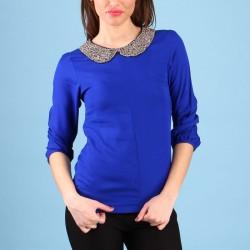 Şık Saks Mavisi Bluz Modelleri