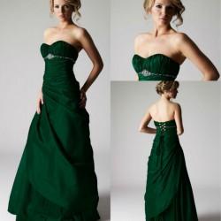 Şık Straplez 2015 Zümrüt Yeşili Elbise Modelleri