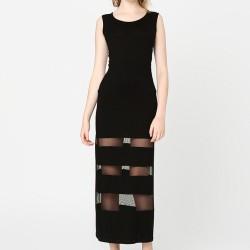 Şerit Tül Detaylı Siyah Elbise Modelleri