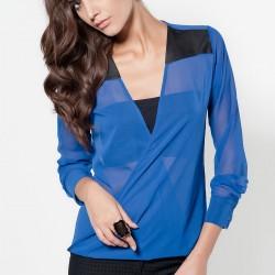 Şifon Saks Mavisi Bluz Modelleri