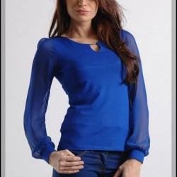 2015 Şifon Saks Mavisi Bluz Modelleri