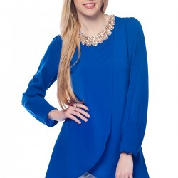 Aksesuarlı Saks Mavisi Bluz Modelleri