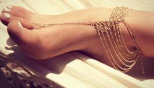 Altın Rengi Zincir 2015 Ayak Şahmeranı Modelleri