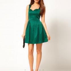 Askılı Kısa 2015 Zümrüt Yeşili Elbise Modelleri