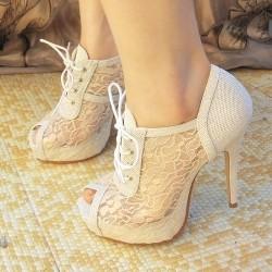 Bağcıklı 2015 Dantelli Topuklu Ayakkabı Modelleri