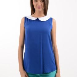 Bebe Yaka Detaylı Kolsuz Saks Mavisi Bluz Modelleri
