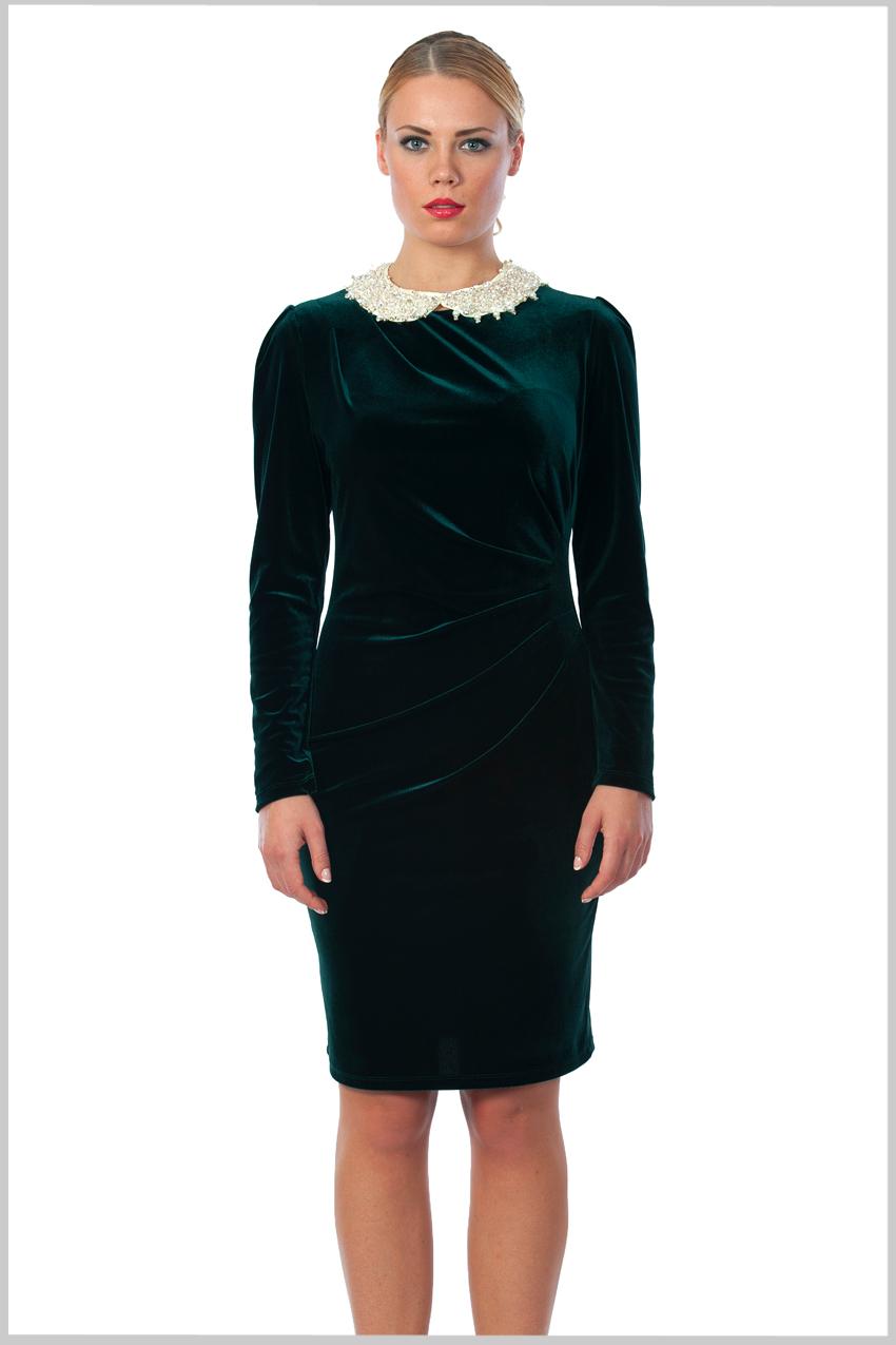 Bebe Yaka Kadife 2015 Zümrüt Yeşili Elbise Modelleri