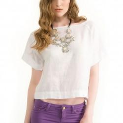 Beyaz Kayık Yaka Bluz Modelleri
