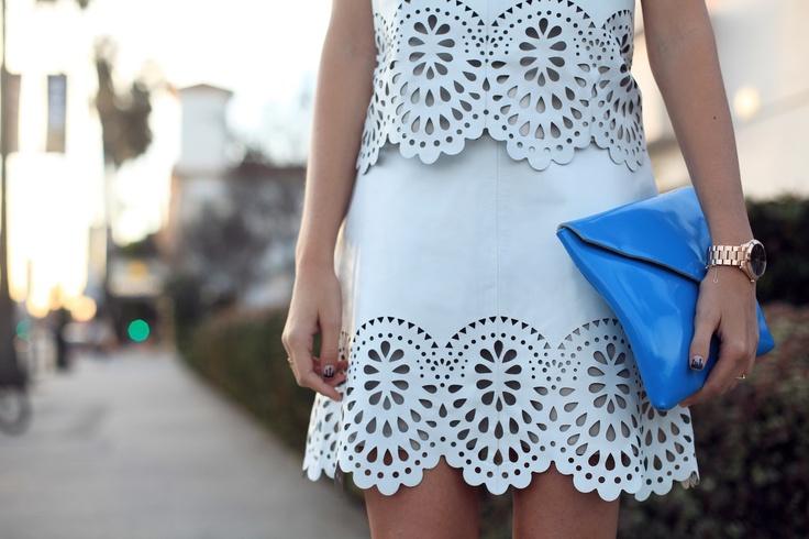 Beyaz Lazer Kesim Etek Modelleri 2015