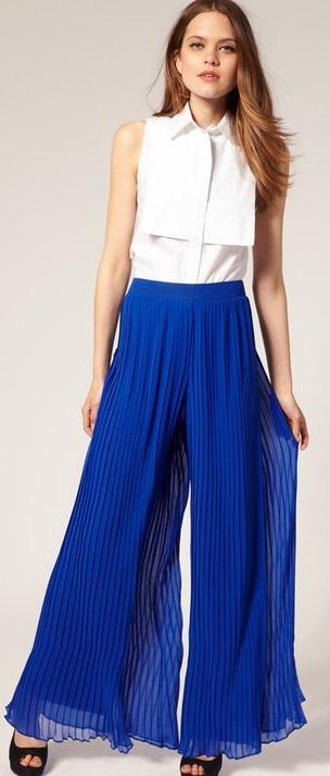 Bol Pantolon Yazlık Saks Mavisi Kombinleri