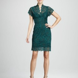 Dantelli 2015 Zümrüt Yeşili Elbise Modelleri