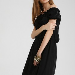 Dantelli Siyah Elbise 2015 Sokak Modası