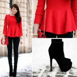 Fırfırlı Bluz Kırmızı Kombinler
