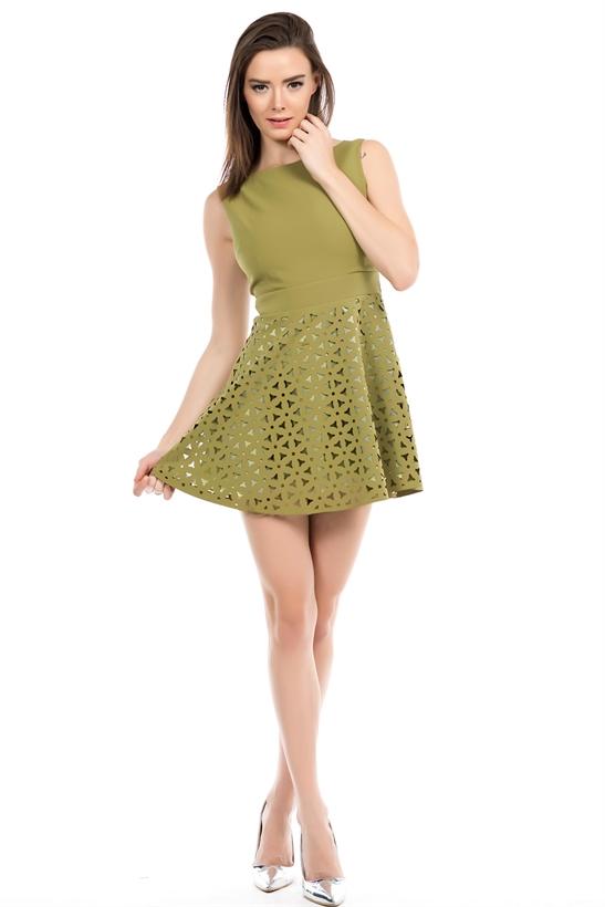 Fıstık Yeşili Kolsuz 2015 Lazer Kesim Elbise Modelleri
