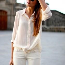 Gömlek Beyaz Renk Yazlık Kombinler