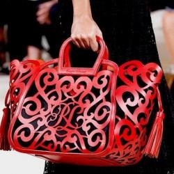 Kırmızı 2015 Lazer Kesim Çanta Modelleri