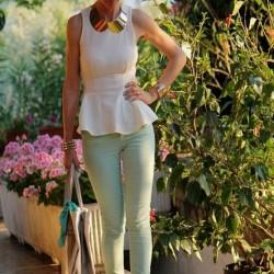 Kolsuz Bluz Beyaz Renk Yazlık Kombinler