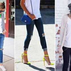 Kot Pantolonlu 2015 Basic Tişört Kombinleri