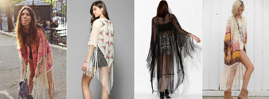 Püskül Detaylı Yazlık Kimono Modelleri
