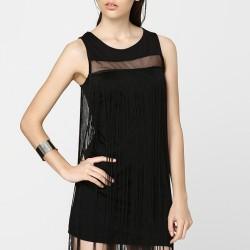 Püsküllü Siyah Elbise Modelleri