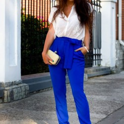 Pantolon Yazlık Saks Mavisi Kombinleri