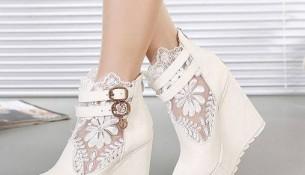 Platform Topuk Beyaz Spor 2015 Dantelli Topuklu Ayakkabı Modelleri
