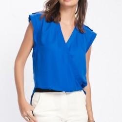 Saks Mavisi Kolsuz V Yaka Bluz Modelleri