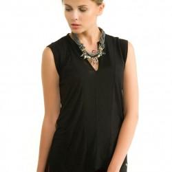 Siyah Kolsuz V Yaka Bluz Modelleri