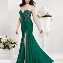 Straplez 2015 Zümrüt Yeşili Elbise Modelleri