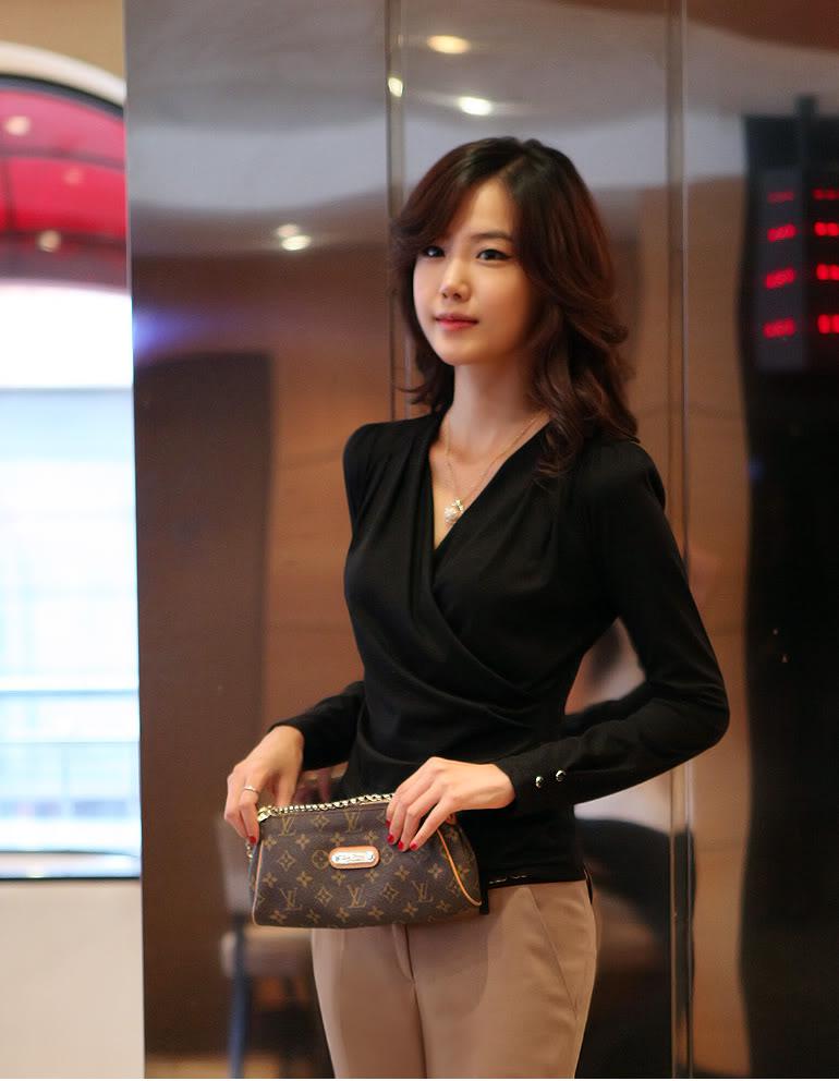 Uzun Kol Siyah V Yaka Bluz Modelleri