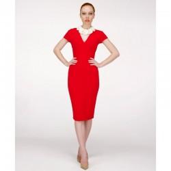 V Yaka Kalem Elbise Kırmızı Kombinler