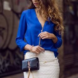 V Yaka Saks Mavisi Bluz Modelleri