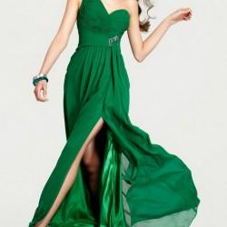 Yırtmaçlı 2015 Zümrüt Yeşili Elbise Modelleri