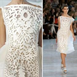 Zarif Beyaz 2015 Lazer Kesim Elbise Modelleri