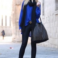 Zarif Saks Mavisi Bluz Modelleri