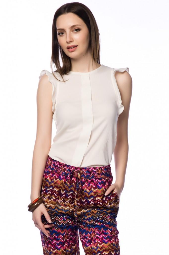 Beyaz Şifon 2015 Kolsuz Bluz Modelleri