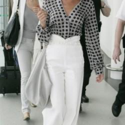 Beyaz Bol Kesim Pantolon Kombinleri