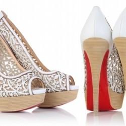 Beyaz Topuklu Lazer Kesim Ayakkabı Modelleri