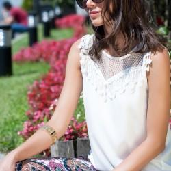 Dantel Detaylı 2015 Kolsuz Bluz Modelleri