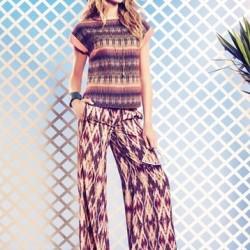 Desenli Bol Kesim Pantolon Kombinleri