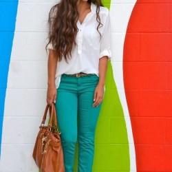 En spor yeşil pantolon kombinleri