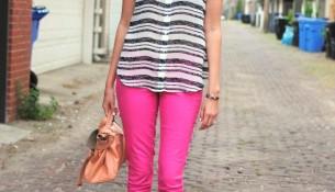 En yeni pembe neon pantolon modelleri