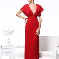 Kırmızı V Yaka Elbise Modelleri