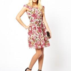 Kayık yaka çok şık günlük elbise modeli
